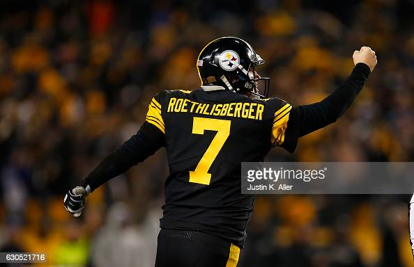 Ben Roethlisberger of the Pittsburgh Steelers reacts after throwing a 4 yard touchdown pass to Antonio Brown in the fourth quarter during the game...