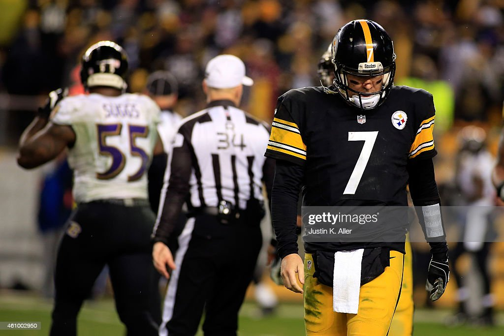 Ben Roethlisberger #7 of the Pittsburgh Steelers reacts and walks back to the bench in the fourth quarter against the Baltimore Ravens during their AFC Wild Card game at Heinz Field on January 3, 2015 in Pittsburgh, Pennsylvania.