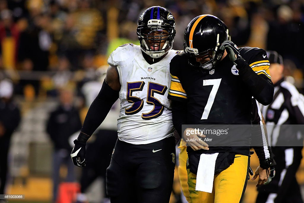 <a gi-track='captionPersonalityLinkClicked' href=/galleries/search?phrase=Ben+Roethlisberger&family=editorial&specificpeople=201605 ng-click='$event.stopPropagation()'>Ben Roethlisberger</a> #7 of the Pittsburgh Steelers reacts and walks back to the bench in the fourth quarter against the Baltimore Ravens during their AFC Wild Card game at Heinz Field on January 3, 2015 in Pittsburgh, Pennsylvania.