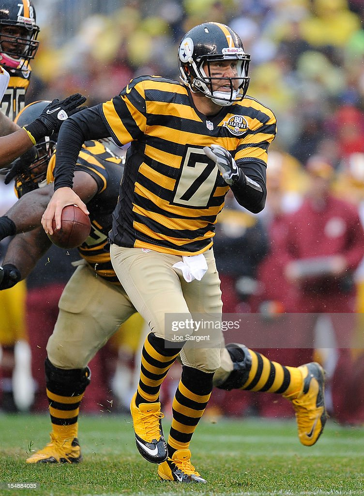 <a gi-track='captionPersonalityLinkClicked' href=/galleries/search?phrase=Ben+Roethlisberger&family=editorial&specificpeople=201605 ng-click='$event.stopPropagation()'>Ben Roethlisberger</a> #7 of the Pittsburgh Steelers scrambles during the third quarter against the Washington Redskins on October 28, 2012 at Heinz Field in Pittsburgh, Pennsylvania. Pittsburgh won the game 27-12.