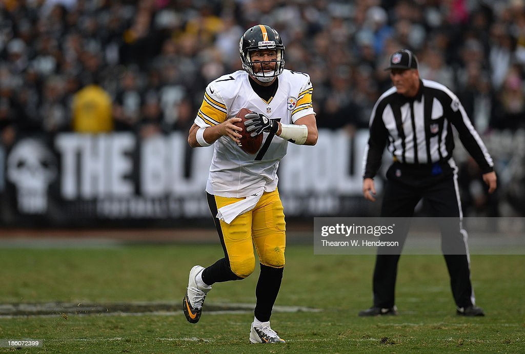 Ben Roethlisberger #7 of the Pittsburgh Steelers scrambles with the ball against the Oakland Raiders during the fourth quarter at O.co Coliseum on October 27, 2013 in Oakland, California.