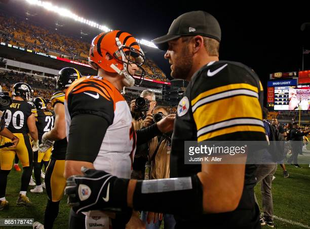 Ben Roethlisberger of the Pittsburgh Steelers shakes hands with Andy Dalton of the Cincinnati Bengals at the conclusion of the Pittsburgh Steelers...