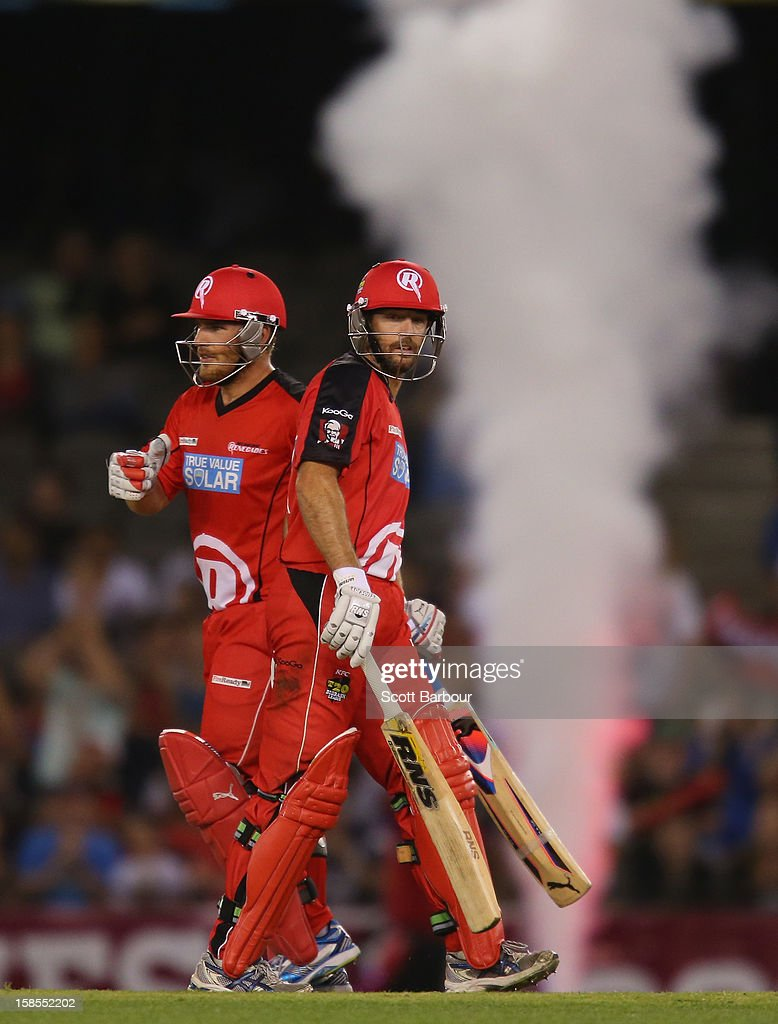 Ben Rohrer congratulates <a gi-track='captionPersonalityLinkClicked' href=/galleries/search?phrase=Aaron+Finch+-+Cricket+Player&family=editorial&specificpeople=724040 ng-click='$event.stopPropagation()'>Aaron Finch</a> of the Renegades after he hit a boundary during the Big Bash League match between the Melbourne Renegades and the Hobart Hurricanes at Etihad Stadium on December 19, 2012 in Melbourne, Australia.