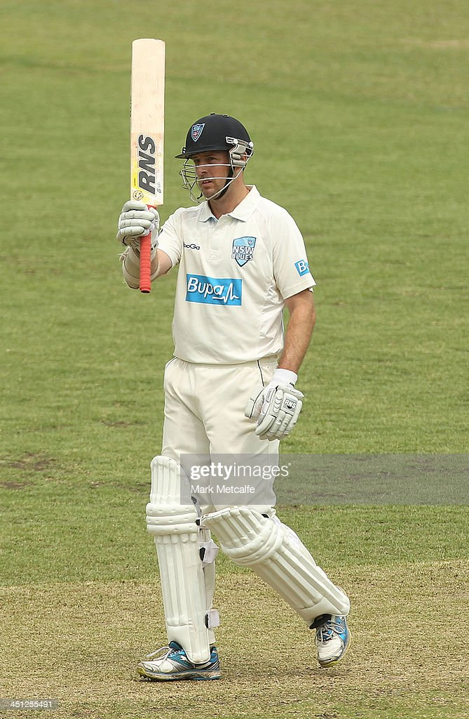 Ben Rohrer of the Blues acknowledges the crowd after scoring a half century during day one of the Sheffield Shield match between the New South Wales Blues and the Queensland Bulls at Sydney Cricket Ground on November 22, 2013 in Sydney, Australia.