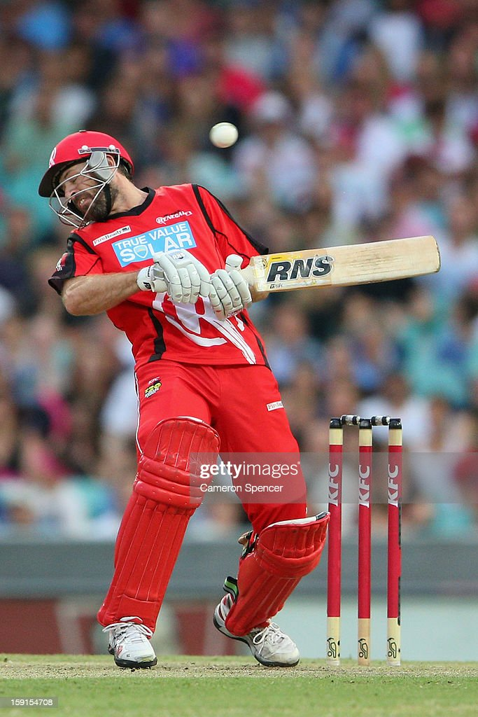 Ben Rohrer of the Renegades ducks under a bouncer during the Big Bash League match between the Sydney Sixers and the Melbourne Renegades at SCG on January 9, 2013 in Sydney, Australia.
