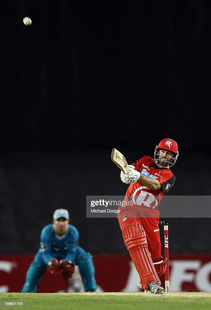 Ben Rohrer of the Renegades hits a six off the bowling of <a gi-track='captionPersonalityLinkClicked' href=/galleries/search?phrase=Kemar+Roach&family=editorial&specificpeople=5408487 ng-click='$event.stopPropagation()'>Kemar Roach</a> of the Heat during the Big Bash League match between the Melbourne Renegades and the Brisbane Heat at Etihad Stadium on December 22, 2012 in Melbourne, Australia.