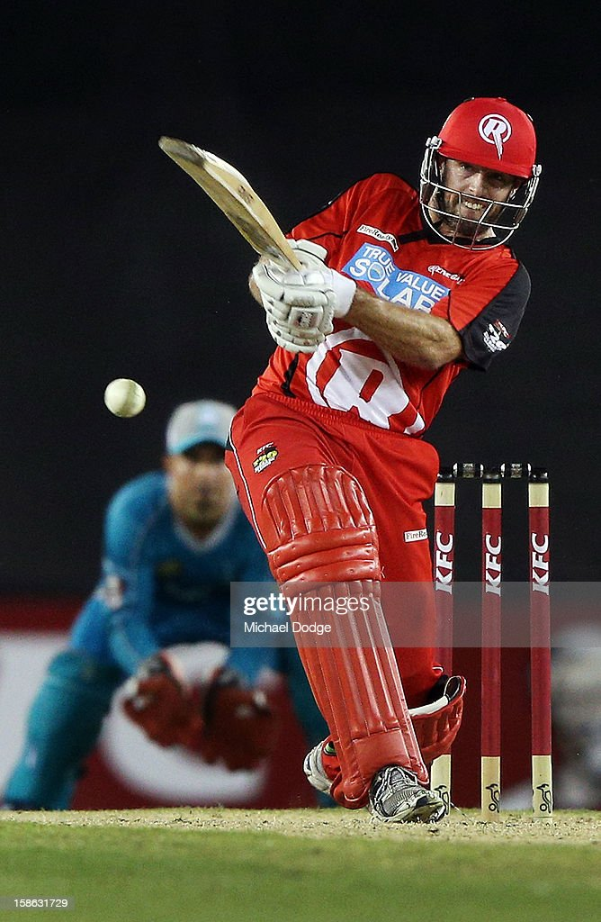 Ben Rohrer of the Renegades hits the winning runs off the bowling of <a gi-track='captionPersonalityLinkClicked' href=/galleries/search?phrase=Kemar+Roach&family=editorial&specificpeople=5408487 ng-click='$event.stopPropagation()'>Kemar Roach</a> of the Heat during the Big Bash League match between the Melbourne Renegades and the Brisbane Heat at Etihad Stadium on December 22, 2012 in Melbourne, Australia.