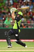 Ben Rohrer of the Thunder bats during the Big Bash League match between the Sydney Thunder and the Sydney Sixers at Spotless Stadium on December 17...