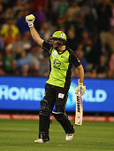 Ben Rohrer of the Thunder celebrates scoring the winning runs during the Big Bash League final match between Melbourne Stars and the Sydney Thunder...