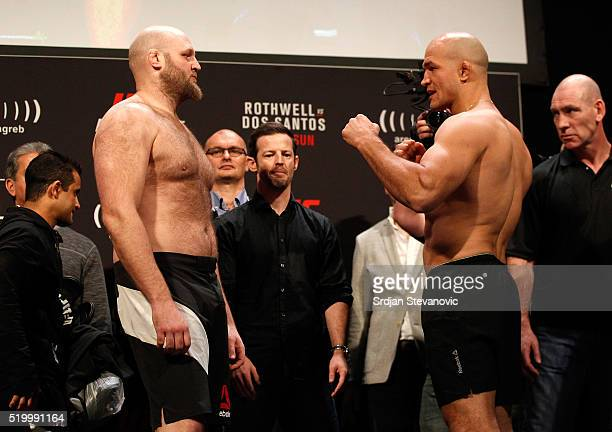 Ben Rothwell of the United States and Junior Dos Santos of Brazil face off during the UFC Fight Night weighin at the Arena Zagreb on April 9 2016 in...