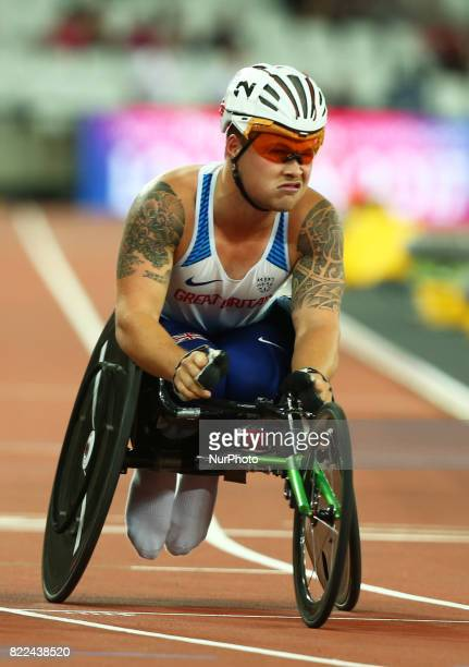 Ben Rowlings of Great Britain compete Men's 400m T34 Final during World Para Athletics Championships Day Three at London Stadium in London on July 17...