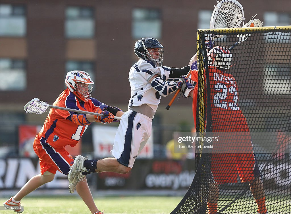 <a gi-track='captionPersonalityLinkClicked' href=/galleries/search?phrase=Ben+Rubeor&family=editorial&specificpeople=6681732 ng-click='$event.stopPropagation()'>Ben Rubeor</a> #6 of the Chesapeake Bayhawks drives to the net with the ball during Major League Lacrosse game action against the Hamilton Nationals on June 29, 2013 at Ron Joyce Stadium in Hamilton, Ontario, Canada.