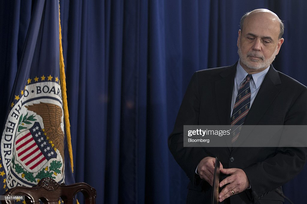 Ben S. Bernanke, chairman of the U.S. Federal Reserve, arrives to a news conference following a Federal Open Market Committee (FOMC) meeting in Washington, D.C., U.S., on Wednesday, March 20, 2013. The Federal Reserve will keep up its bond buying at a pace of $85 billion a month even as the world's largest economy and the job market pick up. Photographer: Andrew Harrer/Bloomberg via Getty Images