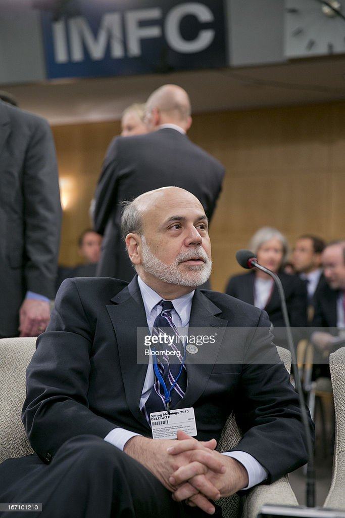Ben S. Bernanke, chairman of the U.S. Federal Reserve, attends the International Monetary and Financial Committee (IMFC) meeting during the International Monetary Fund (IMF) and World Bank Group Spring Meetings in Washington, D.C., U.S., on Saturday, April 20, 2013. The IMF's Managing Director said the euro area has the only central bank with enough leeway to take more measures to boost growth as low interest rates fail to trickle down to the region's economy. Photographer: Andrew Harrer/Bloomberg via Getty Images
