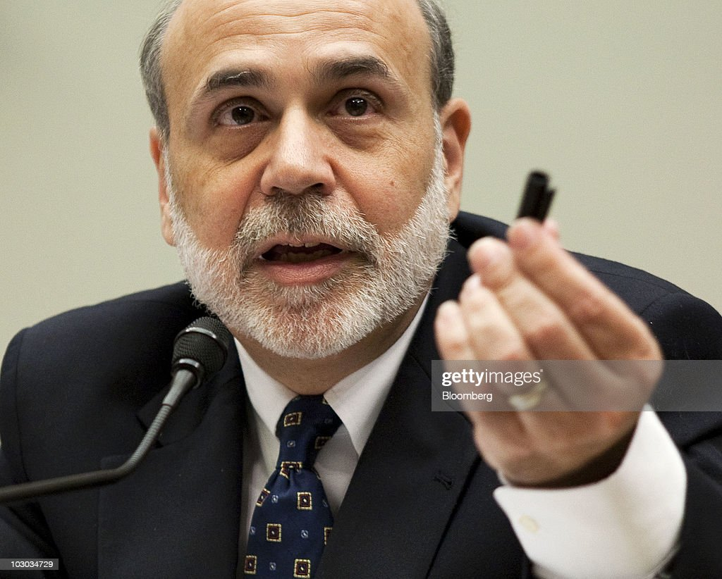 Ben S. Bernanke, chairman of the U.S. Federal Reserve, delivers his semiannual monetary policy report to the House Financial Services Committee in Washington, D.C., U.S., on Thursday, July 22, 2010. Bernanke said that the central bank is prepared to take further policy actions if the economy 'doesn't continue to improve.' Photographer: Joshua Roberts/Bloomberg via Getty Images