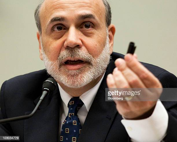 Ben S Bernanke chairman of the US Federal Reserve delivers his semiannual monetary policy report to the House Financial Services Committee in...