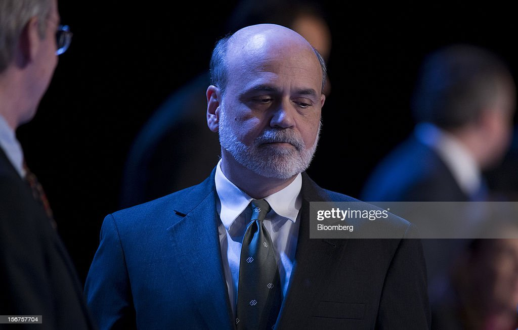 Ben S. Bernanke, chairman of the U.S. Federal Reserve, enters to speak to the Economic Club of New York in New York, U.S., on Tuesday, Nov. 20, 2012. Bernanke said that an agreement on ways to reduce long-term federal budget deficits could remove an impediment to growth, while failure to avoid the so-called fiscal cliff would pose a 'substantial threat' to the recovery. Photographer: Scott Eells/Bloomberg via Getty Images