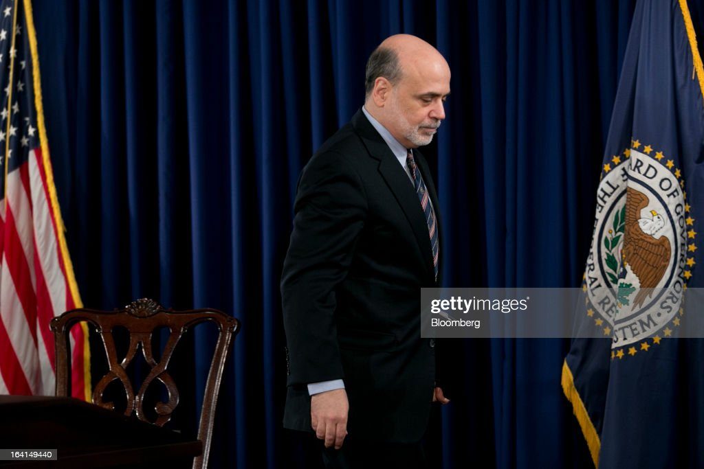 Ben S. Bernanke, chairman of the U.S. Federal Reserve, leaves after a news conference following a Federal Open Market Committee (FOMC) meeting in Washington, D.C., U.S., on Wednesday, March 20, 2013. The Federal Reserve will keep up its bond buying at a pace of $85 billion a month even as the world's largest economy and the job market pick up. Photographer: Andrew Harrer/Bloomberg via Getty Images