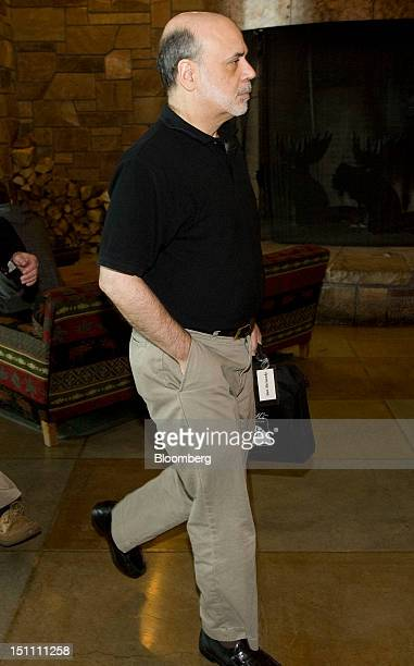 Ben S Bernanke chairman of the US Federal Reserve leaves the economic symposium sponsored by the Kansas City Federal Reserve Bank at the Jackson Lake...
