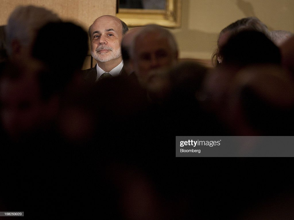 'BEST PHOTOS OF 2012' (): Ben S. Bernanke, chairman of the U.S. Federal Reserve, sits before speaking at the Princeton Club in New York, U.S., on Friday, April 13, 2012. Bernanke said the central bank must increase its focus on maintaining financial stability in order to prevent a repeat of the crisis that triggered the worst recession since the 1930s. Photographer: Scott Eells/Bloomberg via Getty Images