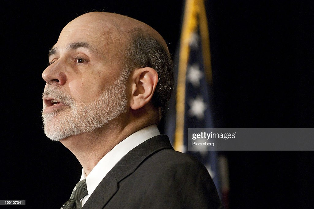 Ben S. Bernanke, chairman of the U.S. Federal Reserve, speaks at the Federal Reserve Bank of Atlanta 2013 Financial Markets Conference in Stone Mountain, Georgia, U.S., on Monday, April 8, 2013. Bernanke said the Fed plans to avert strains in the banking system by pushing financial companies to better manage liquidity risk and reduce reliance on wholesale funding. Photographer: Joeff Davis/Bloomberg via Getty Images
