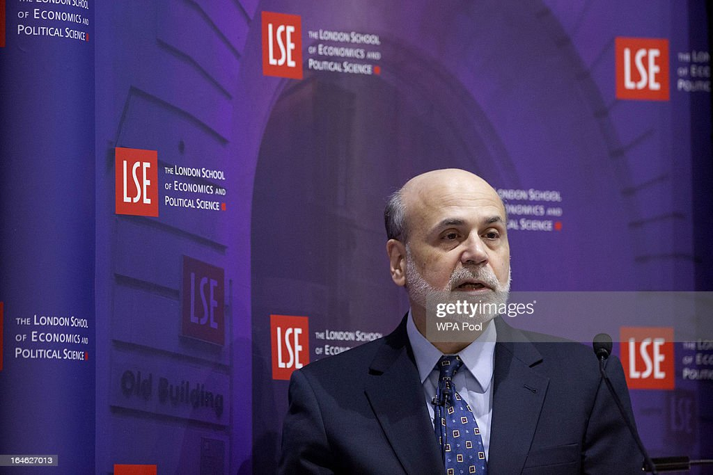 Ben S. Bernanke, chairman of the U.S. Federal Reserve, speaks during a financial and economic event at the London School of Economics (LSE) on March 25, 2013 in London, England. The European Union's decision to recapitalize Cypriot banks by inflicting losses on depositors and senior bondholders is triggering investor concern about the knock-on effects for bank funding across the region.