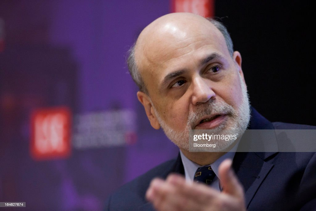 Ben S. Bernanke, chairman of the U.S. Federal Reserve, speaks during a financial and economic event at the London School of Economics (LSE) in London, U.K., on Monday, March 25, 2013. The European Union's decision to recapitalize Cypriot banks by inflicting losses on depositors and senior bondholders is triggering investor concern about the knock-on effects for bank funding across the region. Photographer: Jason Alden/Bloomberg via Getty Images