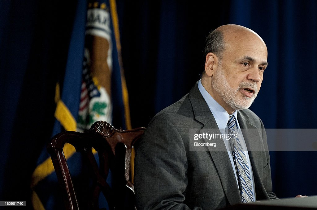 Ben S. Bernanke, chairman of the U.S. Federal Reserve, speaks during a news conference following the Federal Open Market Committee meeting in Washington, D.C., U.S., on Wednesday, Sept. 18, 2013. The Federal Reserve unexpectedly refrained from reducing the $85 billion pace of monthly bond buying, saying it needs to see more signs of lasting improvement in the economy. Photographer: Pete Marovich/Bloomberg via Getty Images
