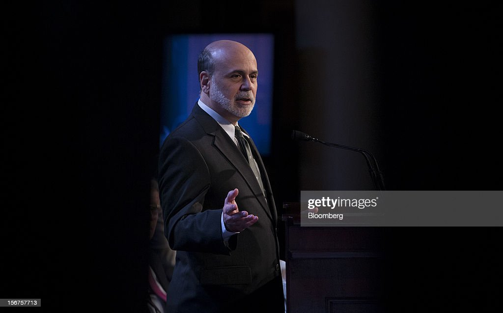 Ben S. Bernanke, chairman of the U.S. Federal Reserve, speaks to the Economic Club of New York in New York, U.S., on Tuesday, Nov. 20, 2012. Bernanke said that an agreement on ways to reduce long-term federal budget deficits could remove an impediment to growth, while failure to avoid the so-called fiscal cliff would pose a 'substantial threat' to the recovery. Photographer: Scott Eells/Bloomberg via Getty Images