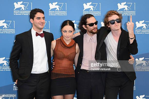 Ben Safdie Arielle Holmes Joshua Safdie and Caleb Landry Jones attend the 'Heaven Knows What' photocall during the 71st Venice Film Festival on...