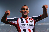 Ben Sahar of Willem II celebrates scoring the first goal of the game during the Dutch Eredivisie match between Willem II Tilburg and NAC Breda at...