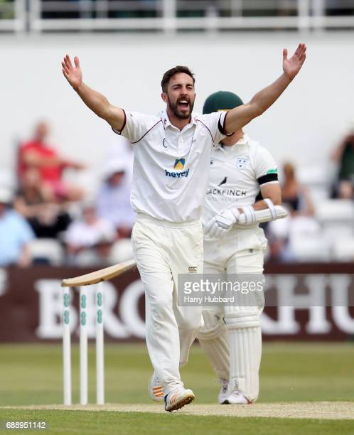 Ben Sanderson of Northamptonshire appeals unsuccessfully during the Specsavers County Championship division two match between Northamptonshire and...