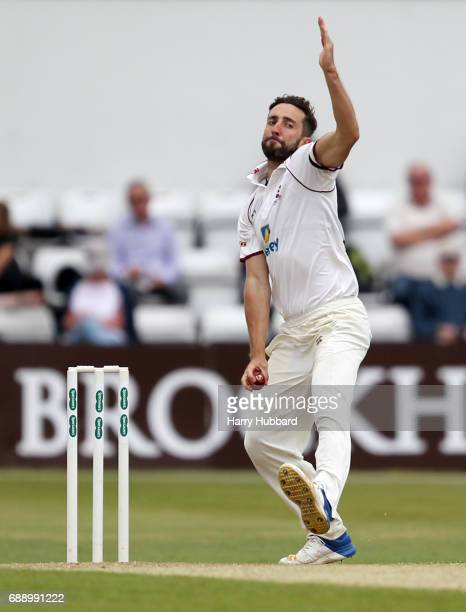 Ben Sanderson of Northamptonshire bowls during the Specsavers County Championship division two match between Northamptonshire and Worcestershire at...