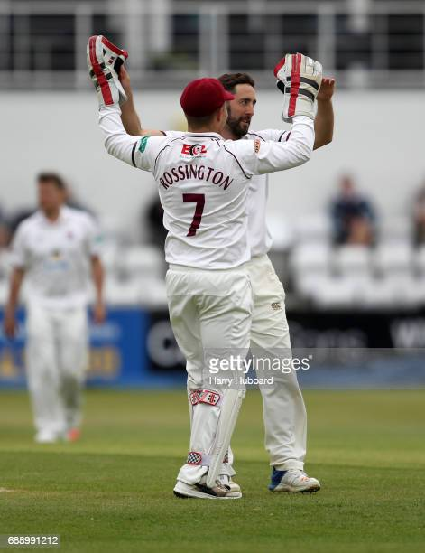 Ben Sanderson of Northamptonshire celebrates the wicket of Tom KohlerCadmore of Worcestershire during the Specsavers County Championship division two...