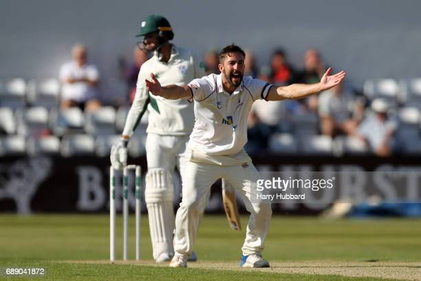 Ben Sanderson of Northamptonshire successfully appeals Nathan Lyon of Worcestershire during the Specsavers County Championship division two match...