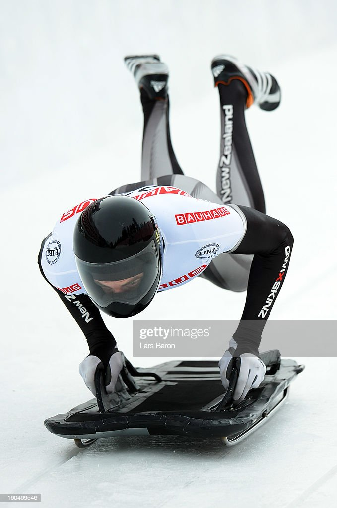 Ben Sandford of New Zealand competes during the man's skeleton first heat of the IBSF Bob & Skeleton World Championship at Olympia Bob Run on February 1, 2013 in St Moritz, Switzerland.