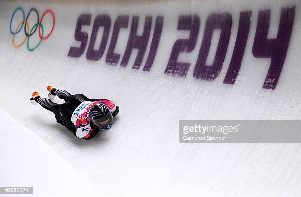 Ben Sandford of New Zealand makes a run during the Men's Skeleton on Day 8 of the Sochi 2014 Winter Olympics at Sliding Center Sanki on February 15...