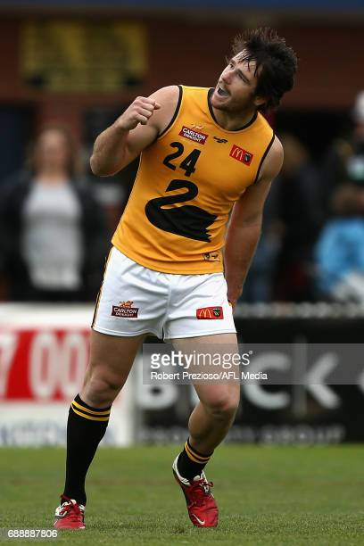 Ben Saunders of WAFL celebrates a goal during the match between VFL and WAFL at North Port Oval on May 27 2017 in Melbourne Australia