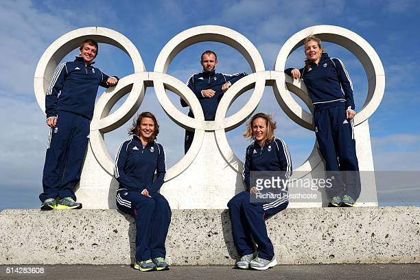 Ben Saxton Nicola Groves Nick Dempsey Charlotte Dobson Sophie Ainsworth of Team GB pose during a Team GB Sailing Announcement for the Rio 2016...