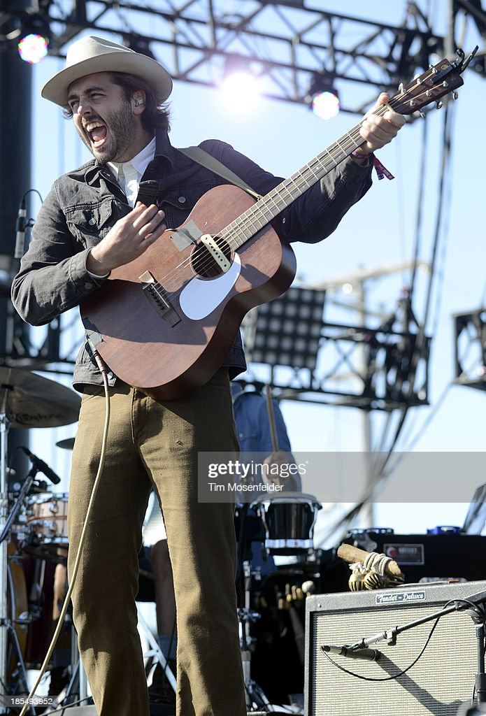 Ben Schneider of Lord Huron performs as part of the Treasure Island Music Festival on October 20 2013 in San Francisco California