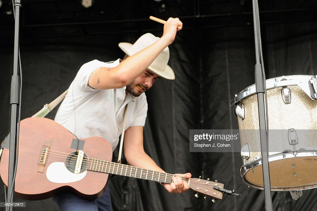 Ben Schneider of Lord Huron performs during the 2014 Forecastle Music Festival at Louisville Waterfront Park on July 19 2014 in Louisville Kentucky