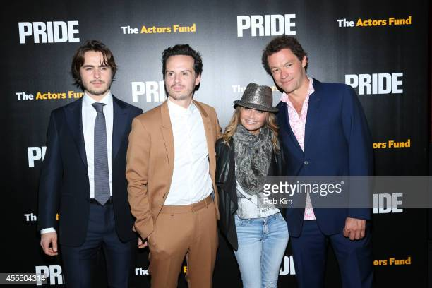 Ben Schnetzer Andrew Scott Kristin Chenoweth and Dominic West attend 'Pride' New York Screening at Ziegfeld Theater on September 15 2014 in New York...