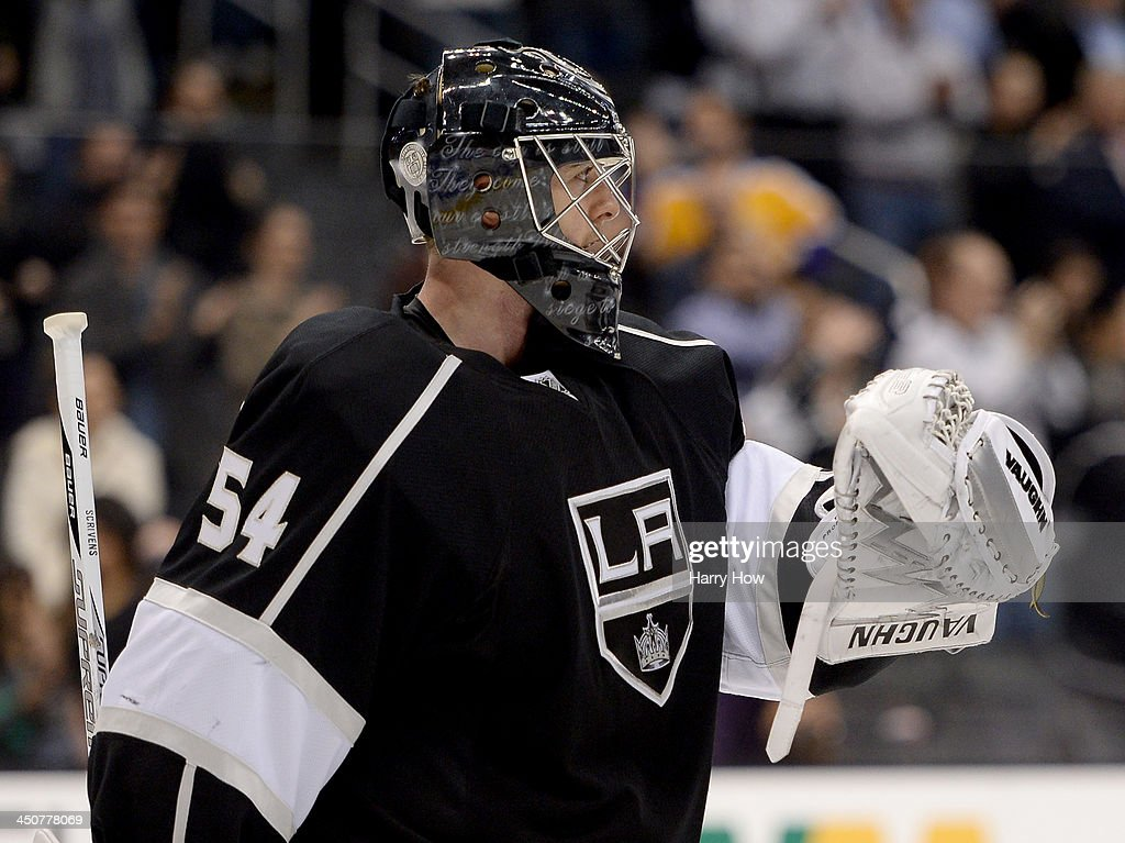 <a gi-track='captionPersonalityLinkClicked' href=/galleries/search?phrase=Ben+Scrivens&family=editorial&specificpeople=7185205 ng-click='$event.stopPropagation()'>Ben Scrivens</a> #54 of the Los Angeles Kings celebrates a 5-2 win over the Tampa Bay Lightning at Staples Center on November 19, 2013 in Los Angeles, California.