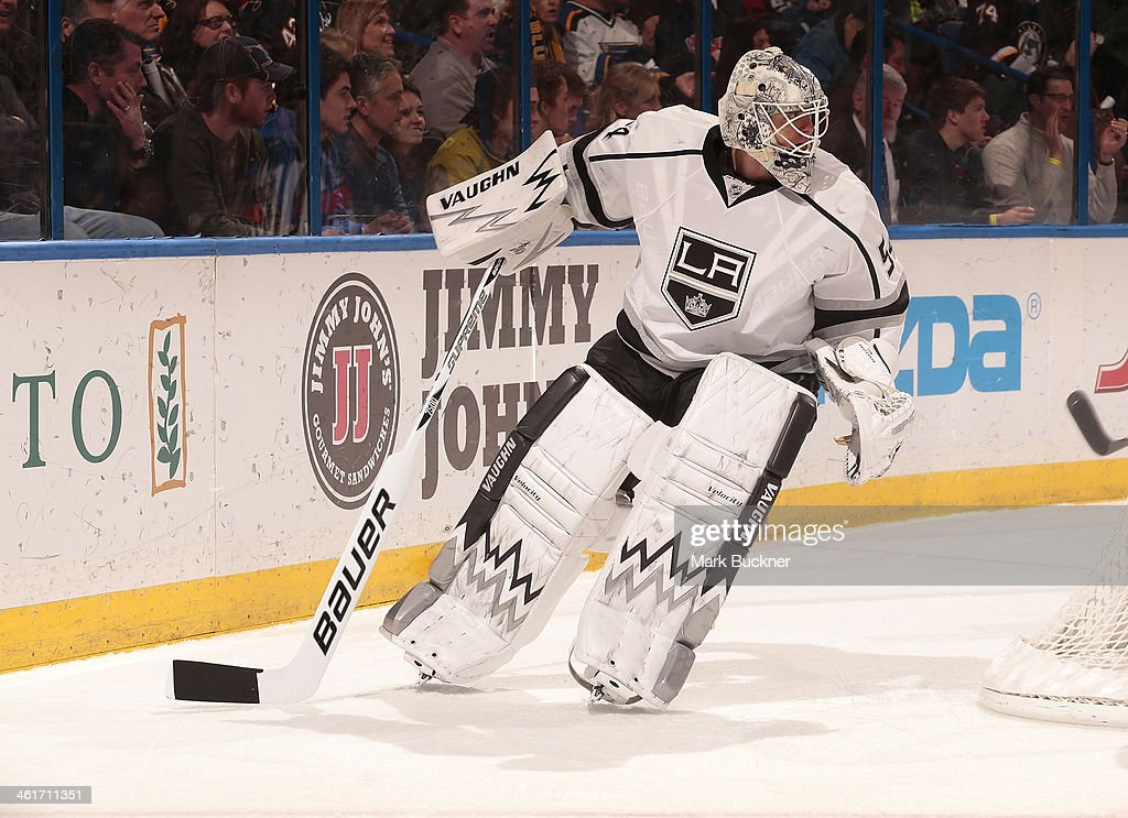 Ben Scrivens of the Los Angeles Kings skates behind the goal during an NHL game against the St Louis Blues on January 2 2014 at Scottrade Center in...
