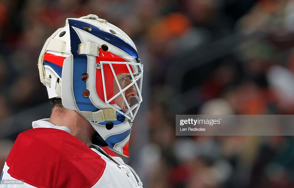 Ben Scrivens of the Montreal Canadiens looks on against the Philadelphia Flyers on January 5 2016 at the Wells Fargo Center in Philadelphia...
