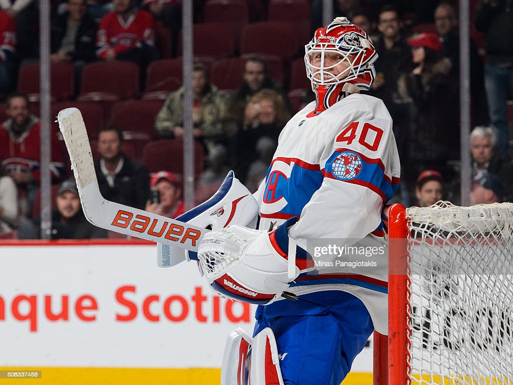 Ben Scrivens of the Montreal Canadiens smiles during the warmup prior to the NHL game against the Boston Bruins at the Bell Centre on January 19 2016...