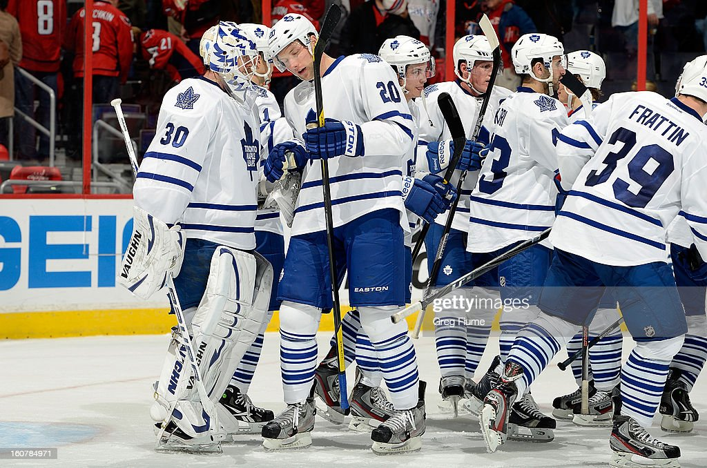 <a gi-track='captionPersonalityLinkClicked' href=/galleries/search?phrase=Ben+Scrivens&family=editorial&specificpeople=7185205 ng-click='$event.stopPropagation()'>Ben Scrivens</a> #30 of the Toronto Maple Leafs celebrates with teammates after a 3-2 victory against the Washington Capitals at the Verizon Center on February 5, 2013 in Washington, DC.
