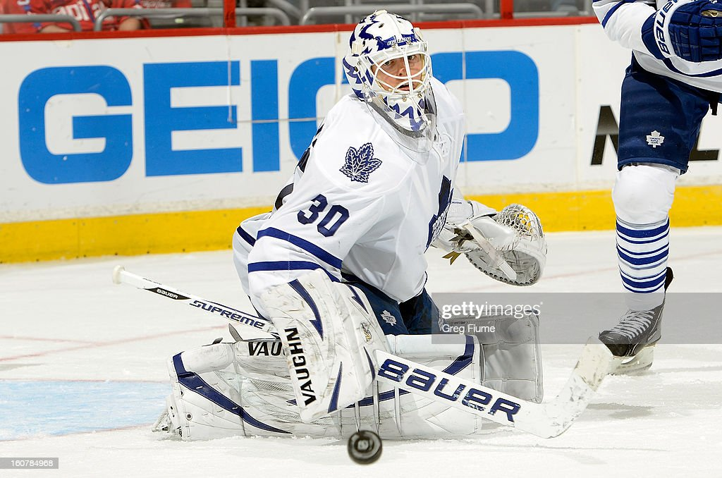<a gi-track='captionPersonalityLinkClicked' href=/galleries/search?phrase=Ben+Scrivens&family=editorial&specificpeople=7185205 ng-click='$event.stopPropagation()'>Ben Scrivens</a> #30 of the Toronto Maple Leafs makes a save against the Washington Capitals at the Verizon Center on February 5, 2013 in Washington, DC.