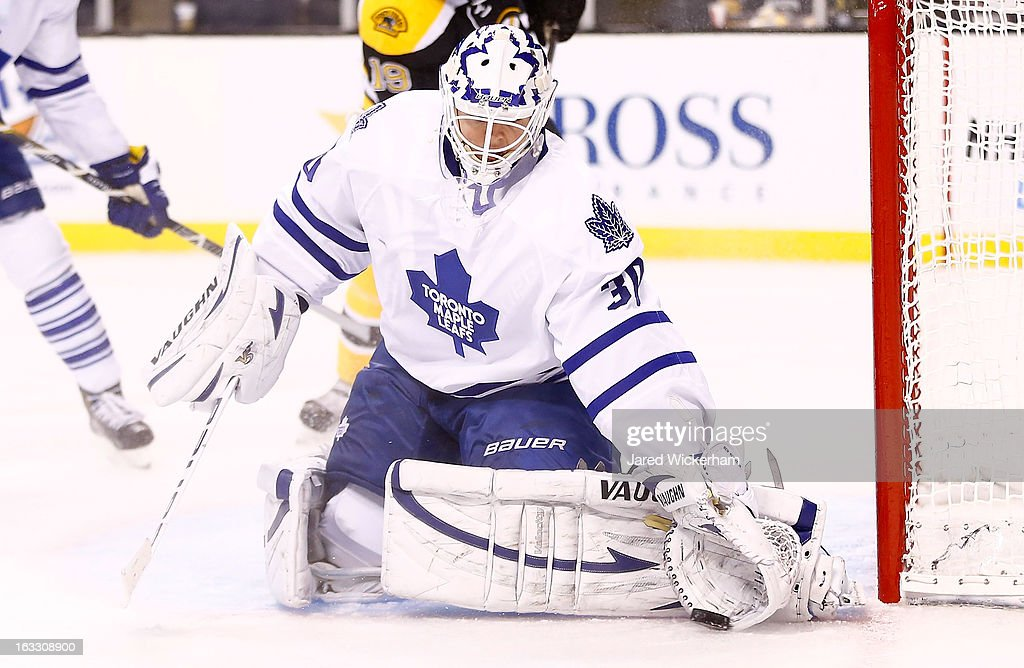 <a gi-track='captionPersonalityLinkClicked' href=/galleries/search?phrase=Ben+Scrivens&family=editorial&specificpeople=7185205 ng-click='$event.stopPropagation()'>Ben Scrivens</a> #30 of the Toronto Maple Leafs stops the puck in front of the net against the Boston Bruins during the game on March 7, 2013 at TD Garden in Boston, Massachusetts.