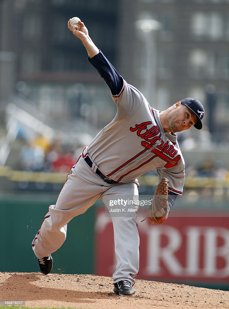 <a gi-track='captionPersonalityLinkClicked' href=/galleries/search?phrase=Ben+Sheets&family=editorial&specificpeople=171199 ng-click='$event.stopPropagation()'>Ben Sheets</a> #30 of the Atlanta Braves pitches against the Pittsburgh Pirates during the game on October 3, 2012 at PNC Park in Pittsburgh, Pennsylvania.